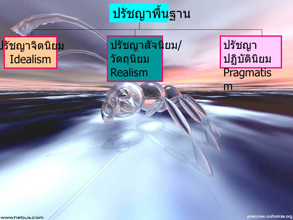 ปรัชญาพื้นฐาน ปรัชญาจิตนิยม Idealism ปรัชญาสัจนิยม/ วัตถุนิยม Realism