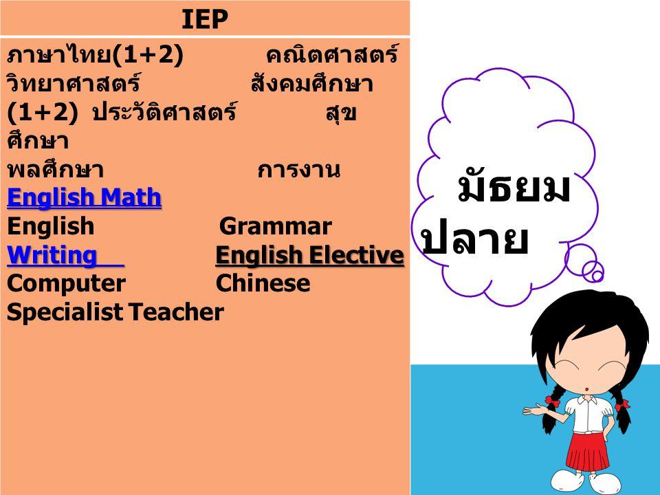 IEP ภาษาไทย(1+2) คณิตศาสตร์ วิทยาศาสตร์ สังคมศึกษา(1+2) ประวัติศาสตร์ สุขศึกษา.