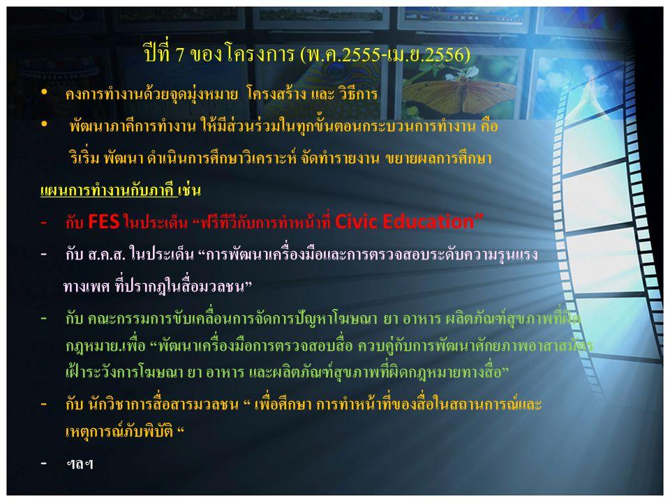 ปีที่ 7 ของโครงการ (พ.ค.2555-เม.ย.2556)