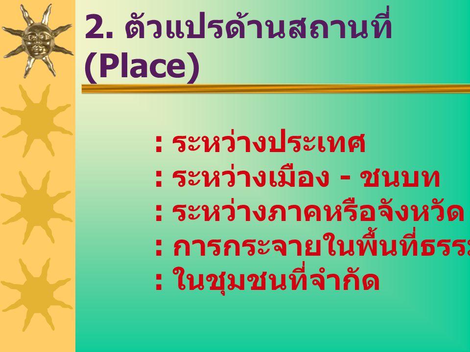 2. ตัวแปรด้านสถานที่ (Place)
