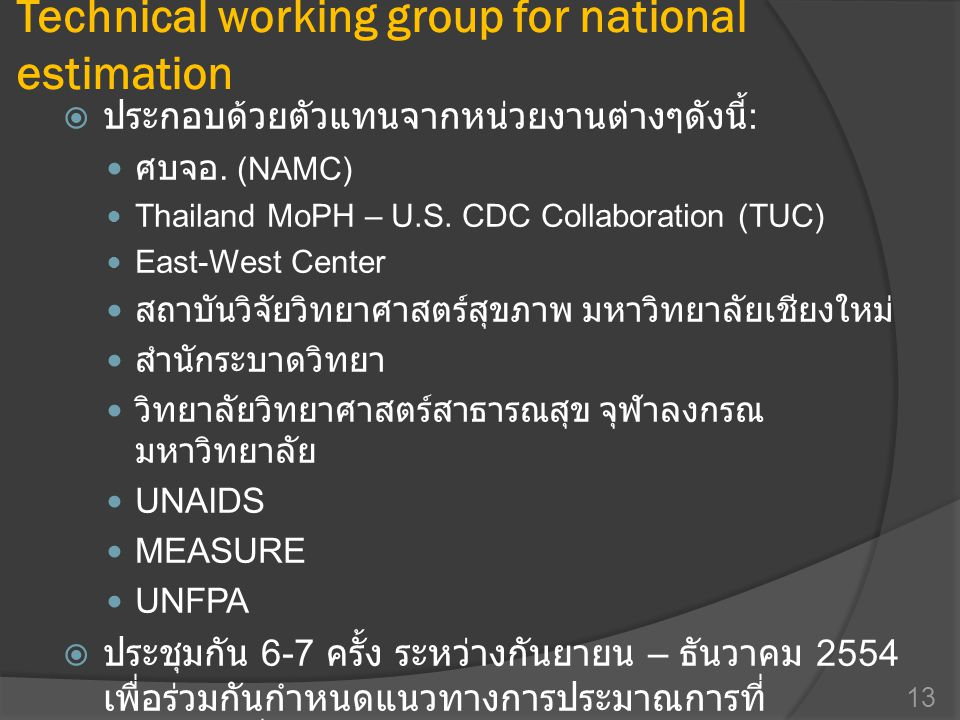 Technical working group for national estimation