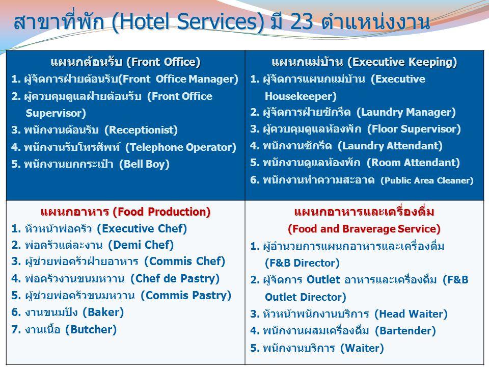 สาขาที่พัก (Hotel Services) มี 23 ตำแหน่งงาน