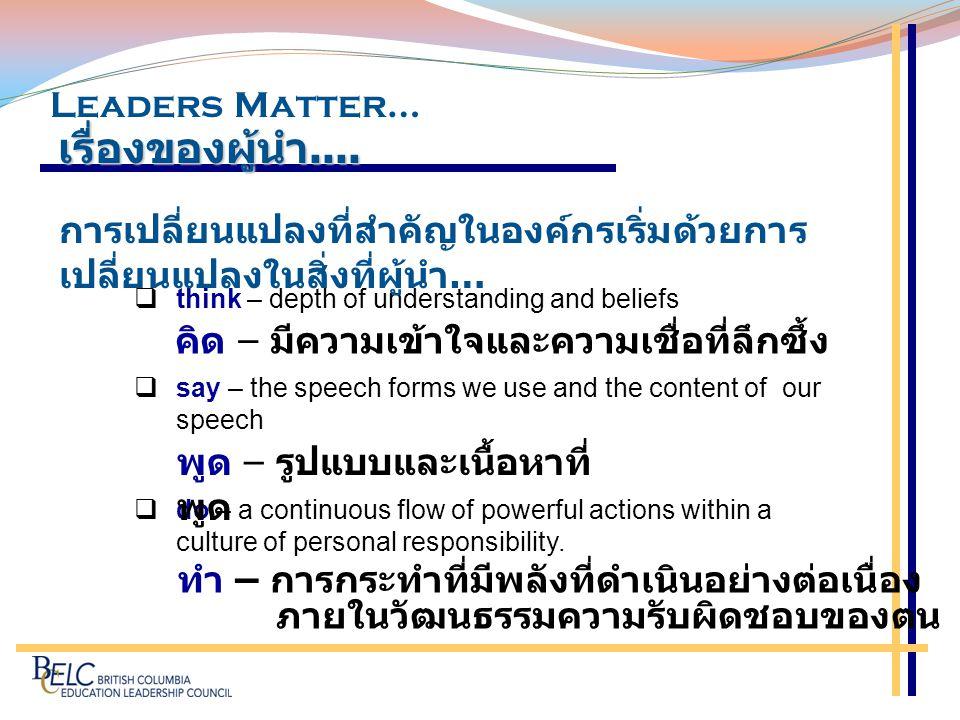 เรื่องของผู้นำ.... Leaders Matter…