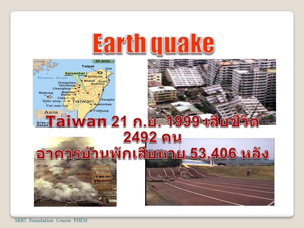Taiwan 21 ก.ย. 1999 เสียชีวิต 2492 คน อาคารบ้านพักเสียหาย 53,406 หลัง