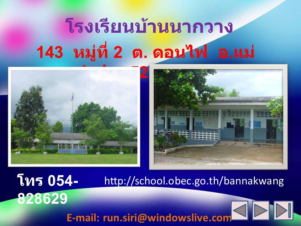 โรงเรียนบ้านนากวาง 143 หมู่ที่ 2 ต. ดอนไฟ อ.แม่ทะ จ.ลำปาง 52150