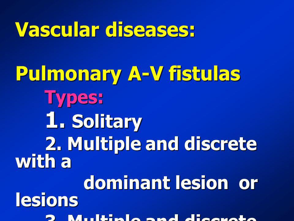 Vascular diseases: Pulmonary A-V fistulas