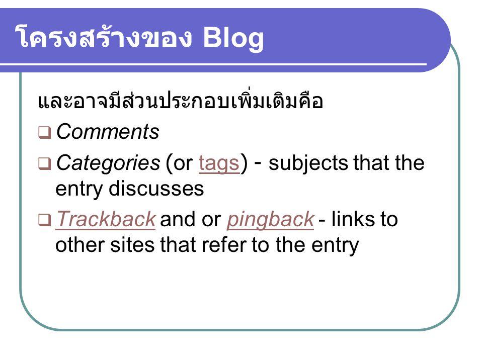 โครงสร้างของ Blog และอาจมีส่วนประกอบเพิ่มเติมคือ Comments