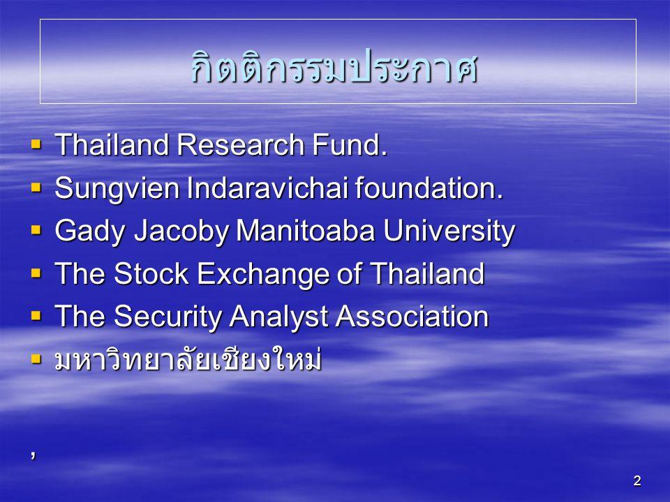 กิตติกรรมประกาศ Thailand Research Fund.