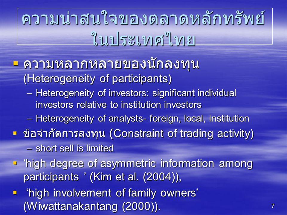 ความน่าสนใจของตลาดหลักทรัพย์ในประเทศไทย