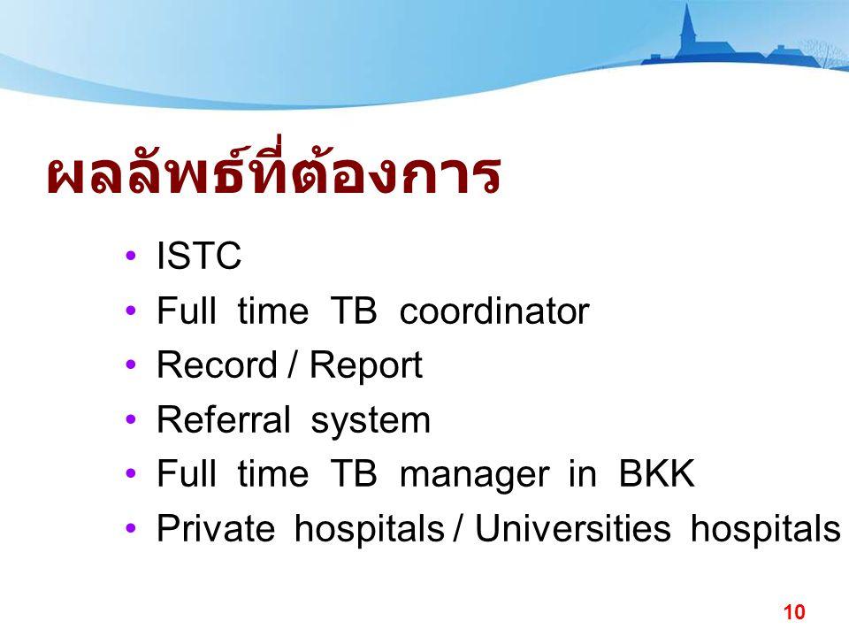 ผลลัพธ์ที่ต้องการ ISTC Full time TB coordinator Record / Report