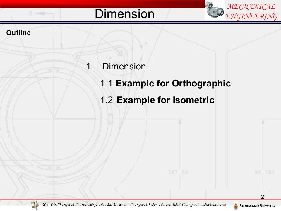 Dimension Dimension 1 Example for Orthographic