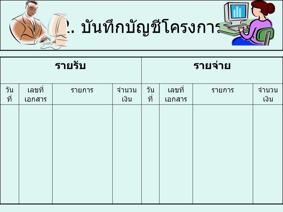 2. บันทึกบัญชีโครงการ รายรับ รายจ่าย วันที่ เลขที่เอกสาร รายการ