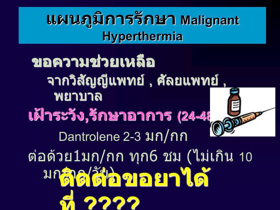 แผนภูมิการรักษา Malignant Hyperthermia