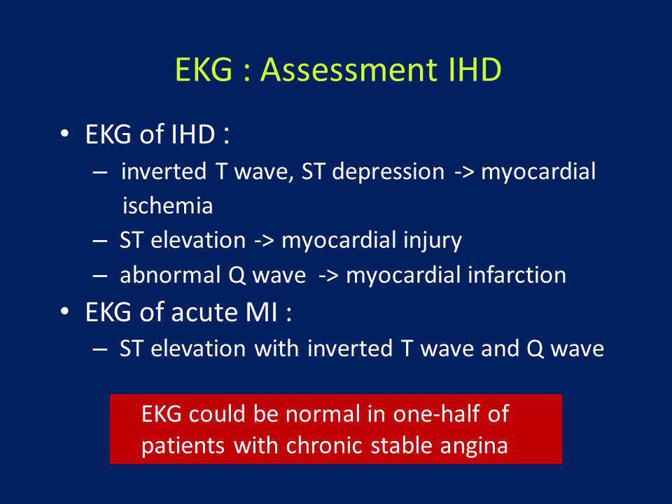 EKG : Assessment IHD EKG of IHD : EKG of acute MI :