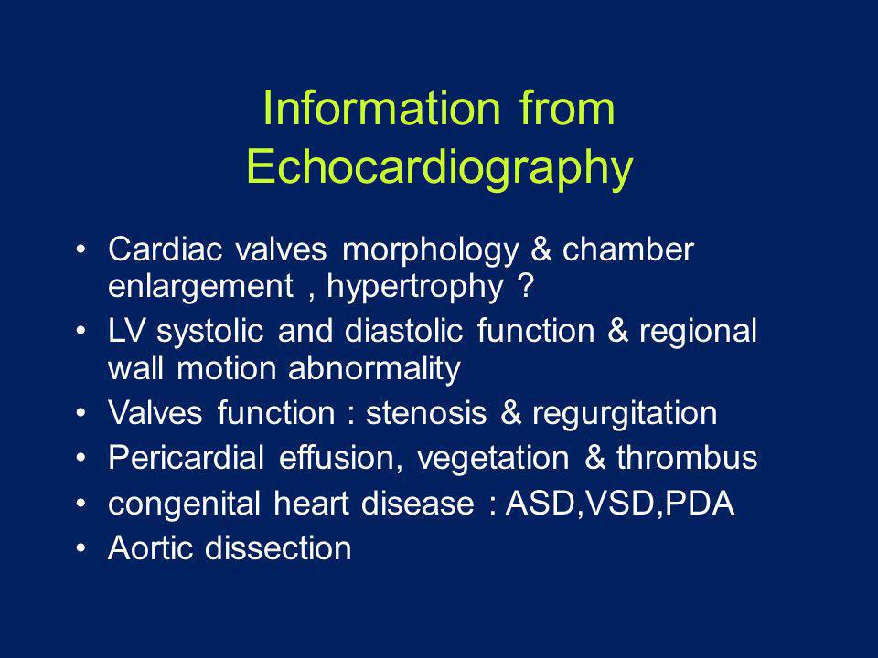 Information from Echocardiography