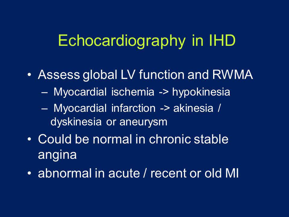 Echocardiography in IHD