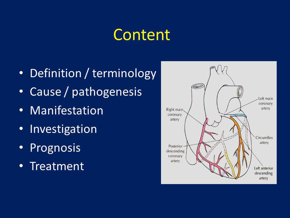 Content Definition / terminology Cause / pathogenesis Manifestation