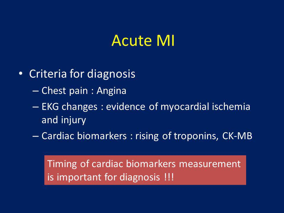 Acute MI Criteria for diagnosis Chest pain : Angina
