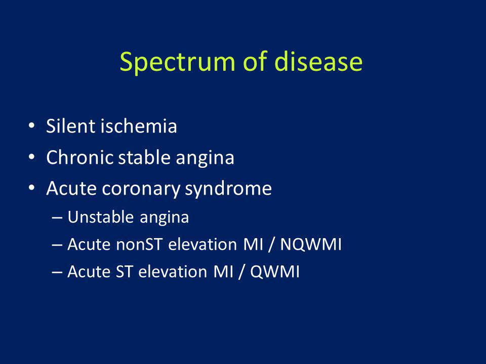 Spectrum of disease Silent ischemia Chronic stable angina