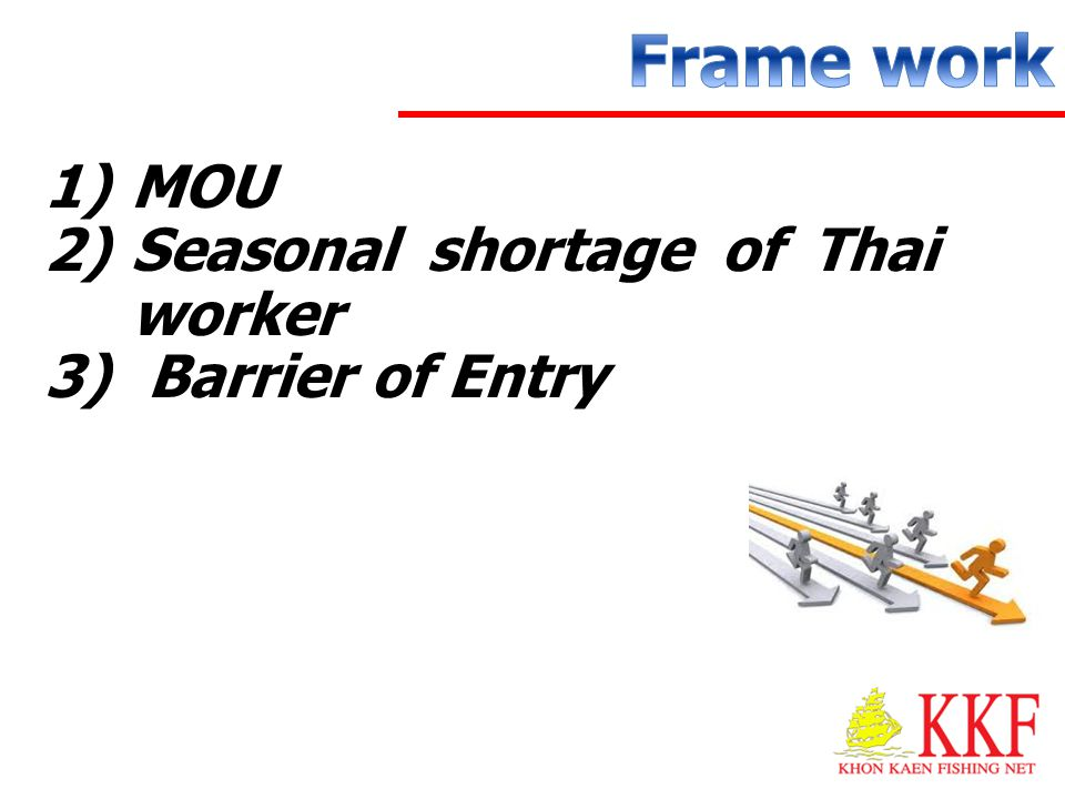Frame work MOU Seasonal shortage of Thai worker Barrier of Entry