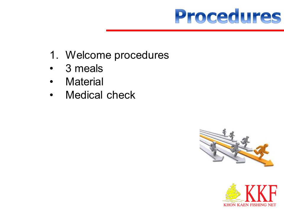 Procedures Welcome procedures 3 meals Material Medical check