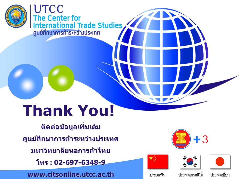 Thank You! ติดต่อข้อมูลเพิ่มเติม ศูนย์ศึกษาการค้าระหว่างประเทศ