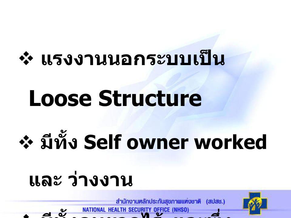 แรงงานนอกระบบเป็น Loose Structure