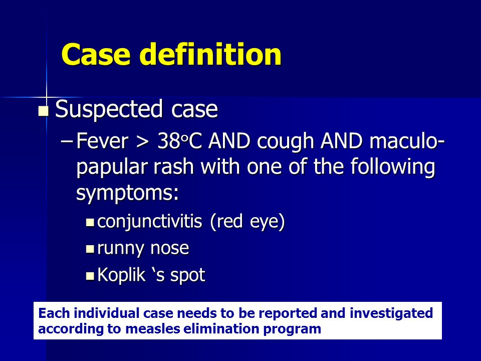 Case definition Suspected case