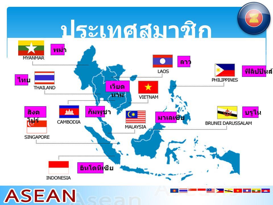ประเทศสมาชิก พม่า ลาว ฟิลิปปินส์ ไทย เวียดนาม สิงคโปร์ กัมพูชา บรูไน