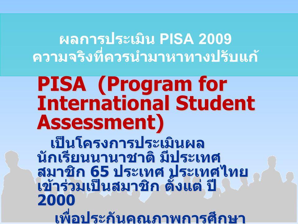 ผลการประเมิน PISA 2009 ความจริงที่ควรนำมาหาทางปรับแก้