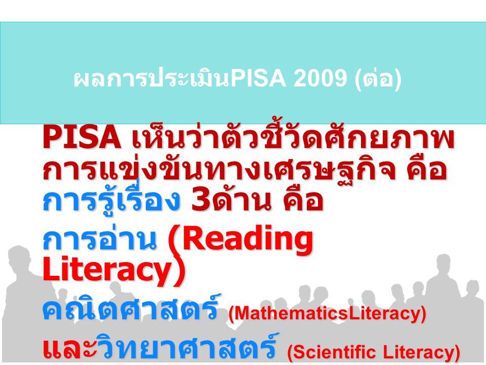 ผลการประเมินPISA 2009 (ต่อ)