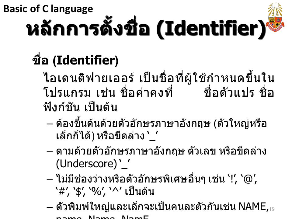 หลักการตั้งชื่อ (Identifier)