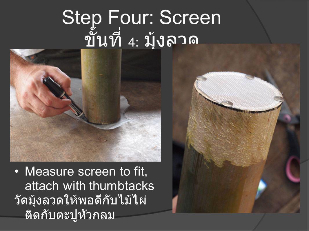 Step Four: Screen ขั้นที่ 4: มุ้งลวด