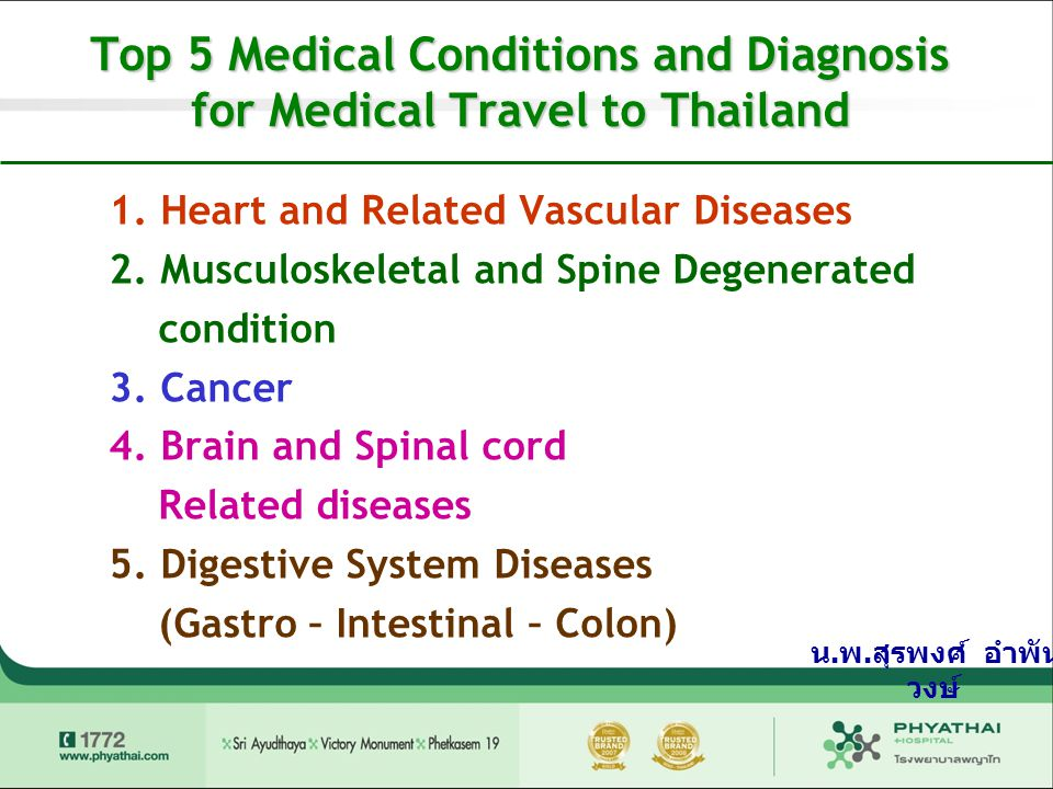 Top 5 Medical Conditions and Diagnosis for Medical Travel to Thailand