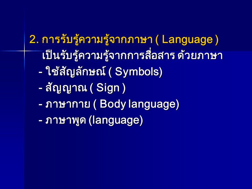 2. การรับรู้ความรู้จากภาษา ( Language )