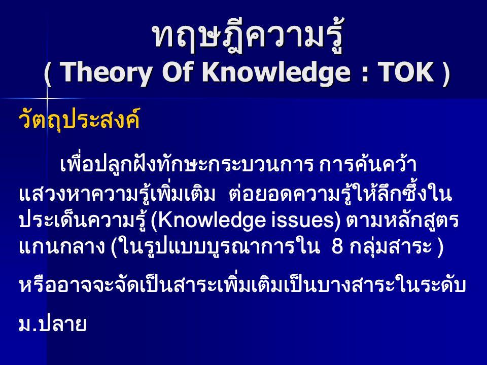 ทฤษฎีความรู้ ( Theory Of Knowledge : TOK )