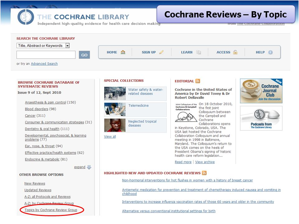 Cochrane Reviews – By Topic