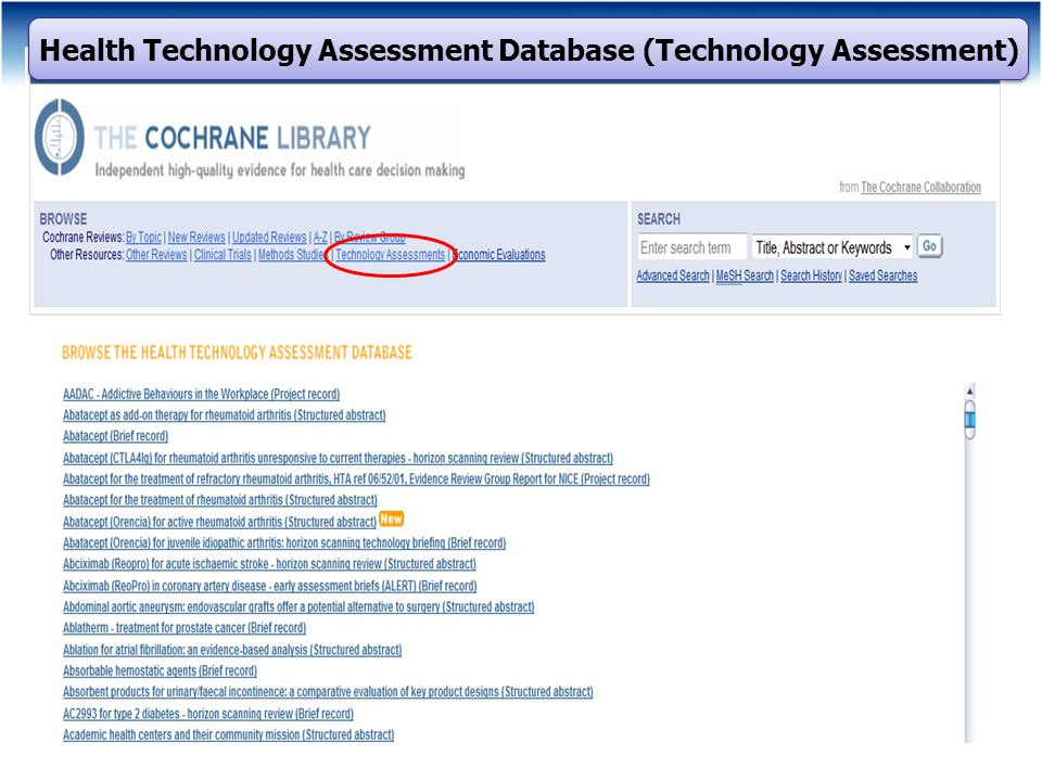Health Technology Assessment Database (Technology Assessment)