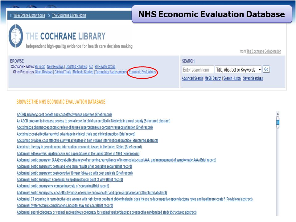 NHS Economic Evaluation Database