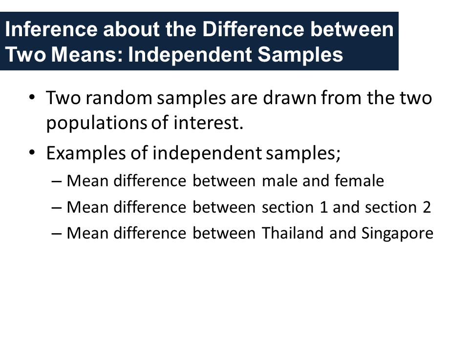 Inference about the Difference between Two Means: Independent Samples