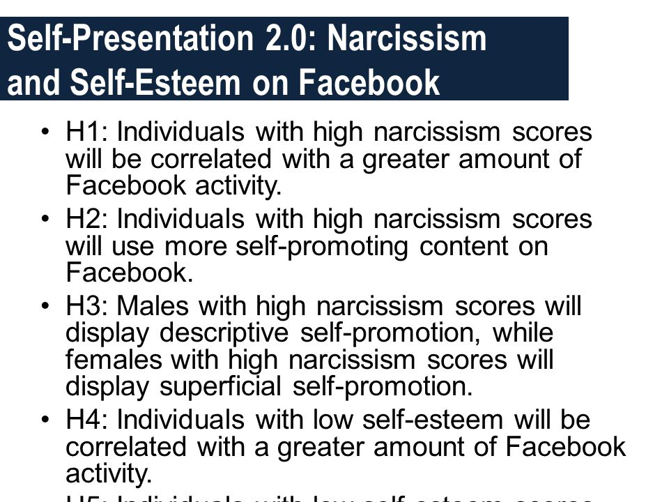 Self-Presentation 2.0: Narcissism and Self-Esteem on Facebook