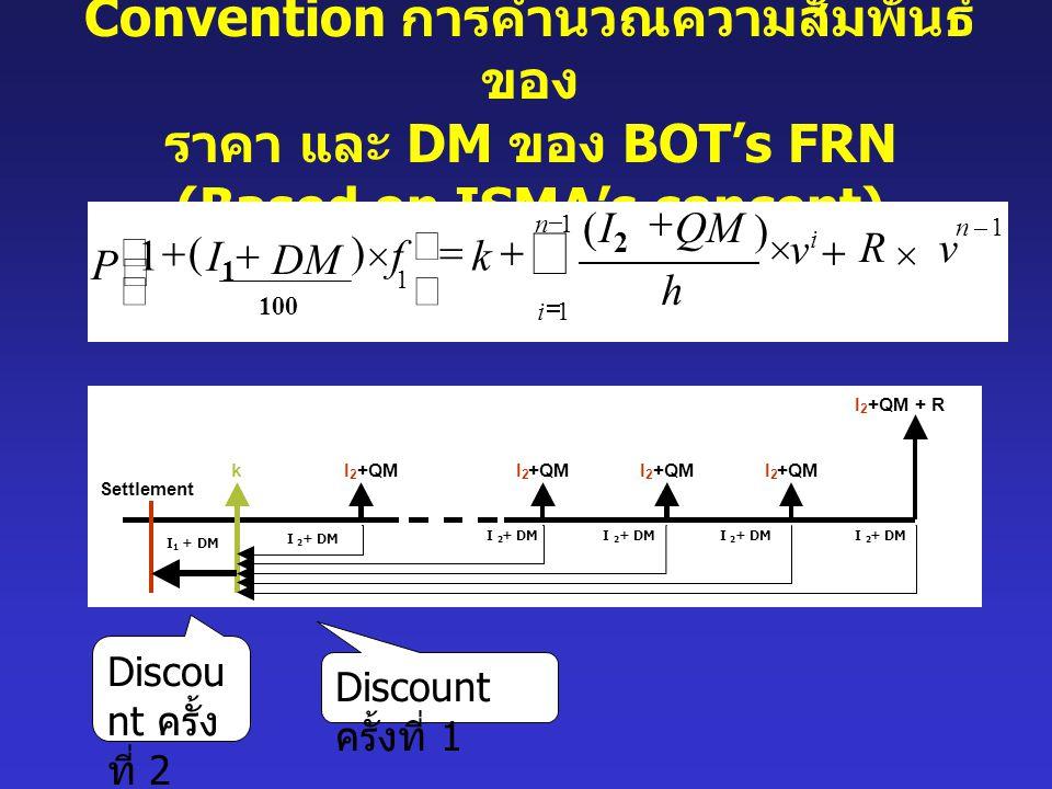 Convention การคำนวณความสัมพันธ์ของ ราคา และ DM ของ BOT's FRN (Based on ISMA's concept)