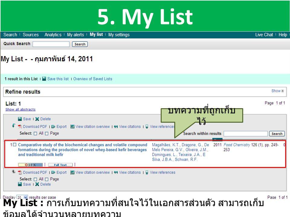 5. My List บทความที่ถูกเก็บไว้