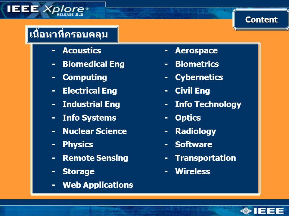 เนื้อหาที่ครอบคลุม Content - Acoustics - Biomedical Eng - Computing