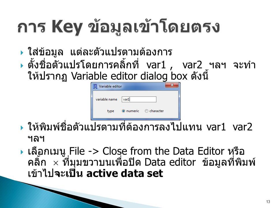 การ Key ข้อมูลเข้าโดยตรง