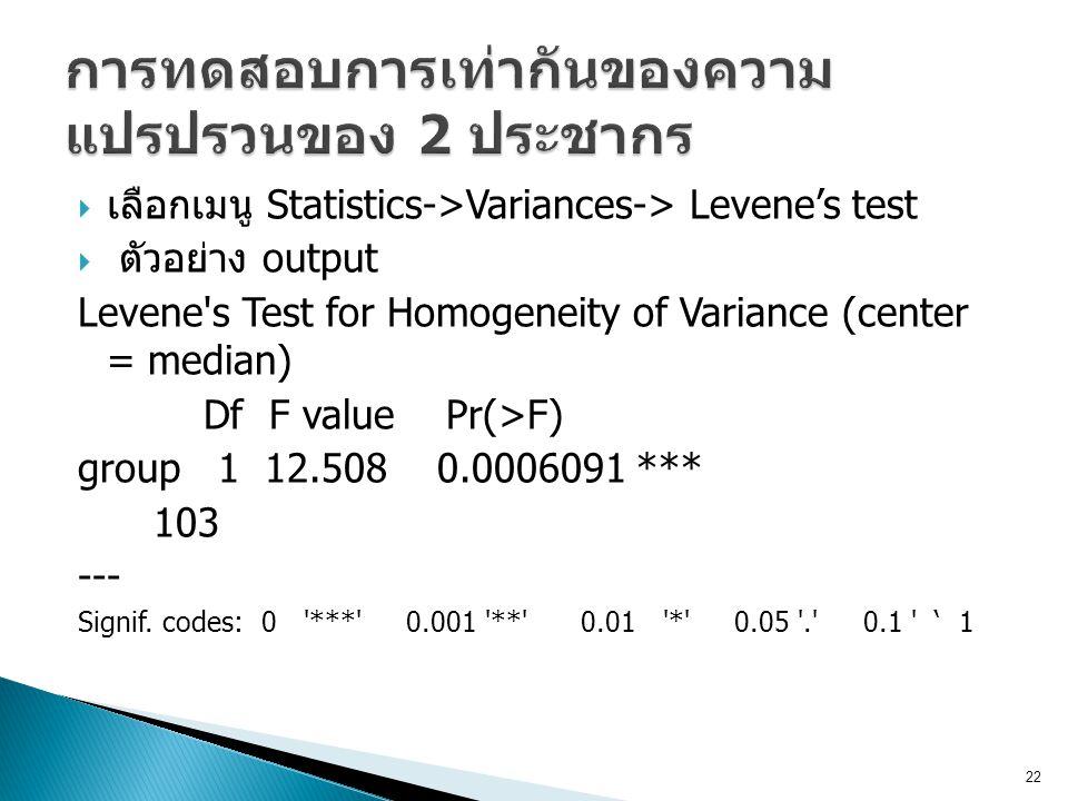 การทดสอบการเท่ากันของความแปรปรวนของ 2 ประชากร