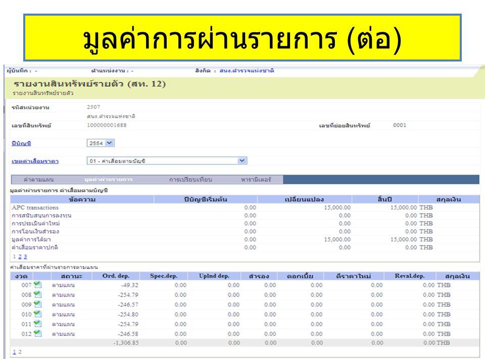 มูลค่าการผ่านรายการ (ต่อ)
