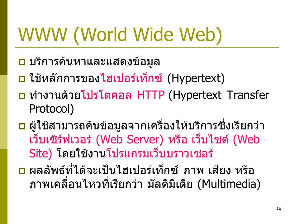 WWW (World Wide Web) บริการค้นหาและแสดงข้อมูล