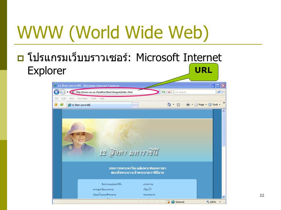 WWW (World Wide Web) โปรแกรมเว็บบราวเซอร์: Microsoft Internet Explorer