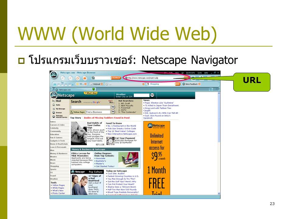 WWW (World Wide Web) โปรแกรมเว็บบราวเซอร์: Netscape Navigator URL
